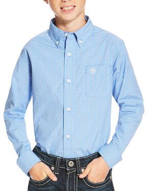 Ariat Boys' Blue Oakville Long Sleeve Shirt , Blue, hi-res