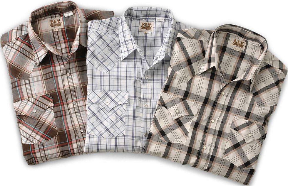 Ely Assorted Plaid or Stripe Short Sleeve Western Shirt - Big & Tall, Plaid, hi-res