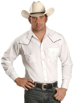 Ely Cattleman Contrasting Piped Yoke Western Shirt, White, hi-res