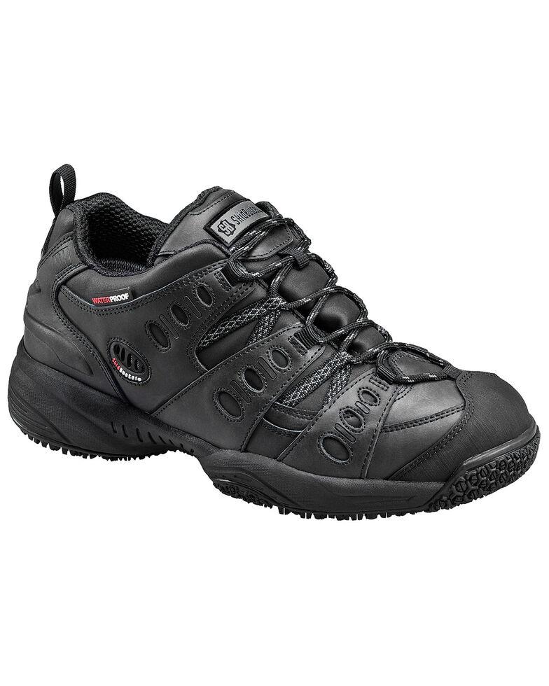 SkidBuster Men's Non-Slip Waterproof Leather Work Shoes, Black, hi-res