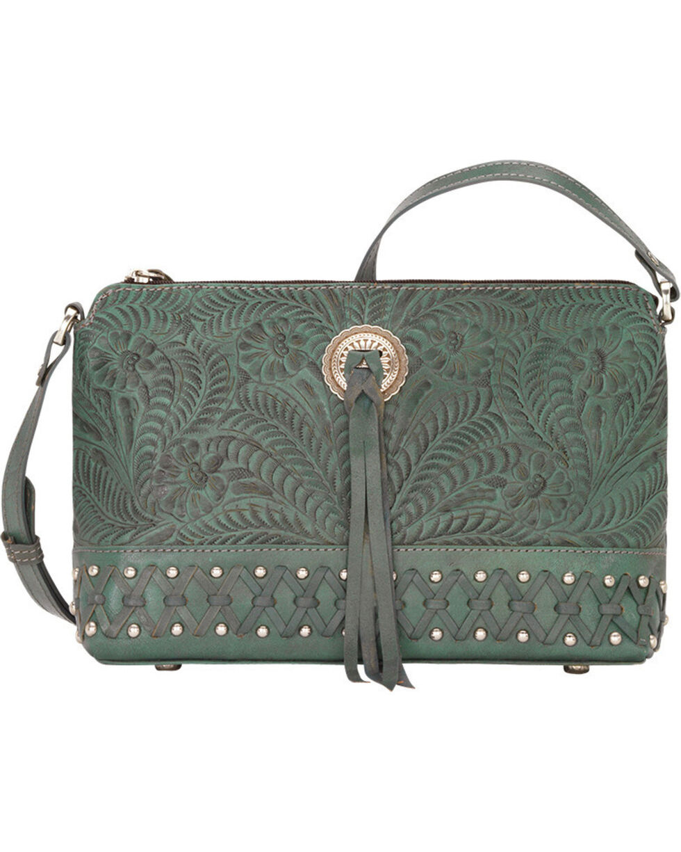 American West Women's Dove Canyon Crossbody Bag , Turquoise, hi-res