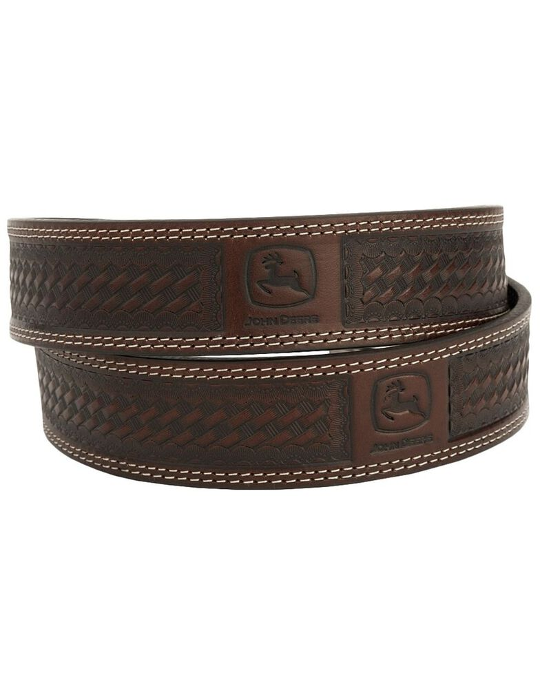 John Deere Basketweave Leather Belt, Chocolate, hi-res