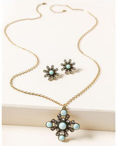 Shyanne Women's Gilded Gold Bling & Turquoise Jewelry Set, Gold, hi-res
