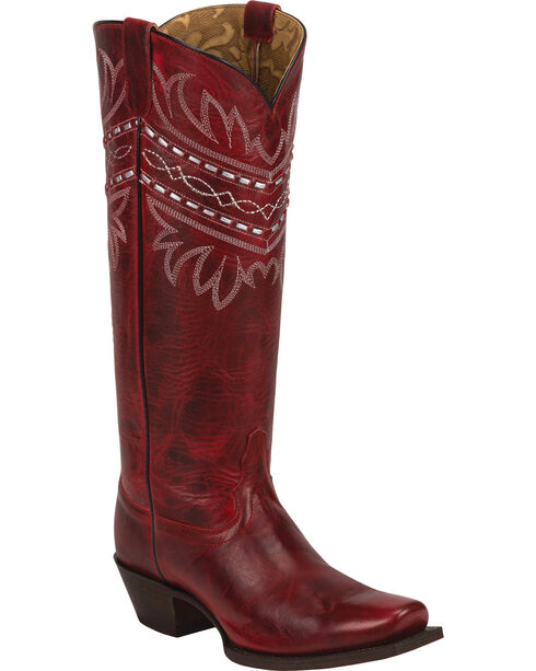 Tony Lama Red Baja 100% Vaquero Cowgirl Boots - Square Toe, Red, hi-res