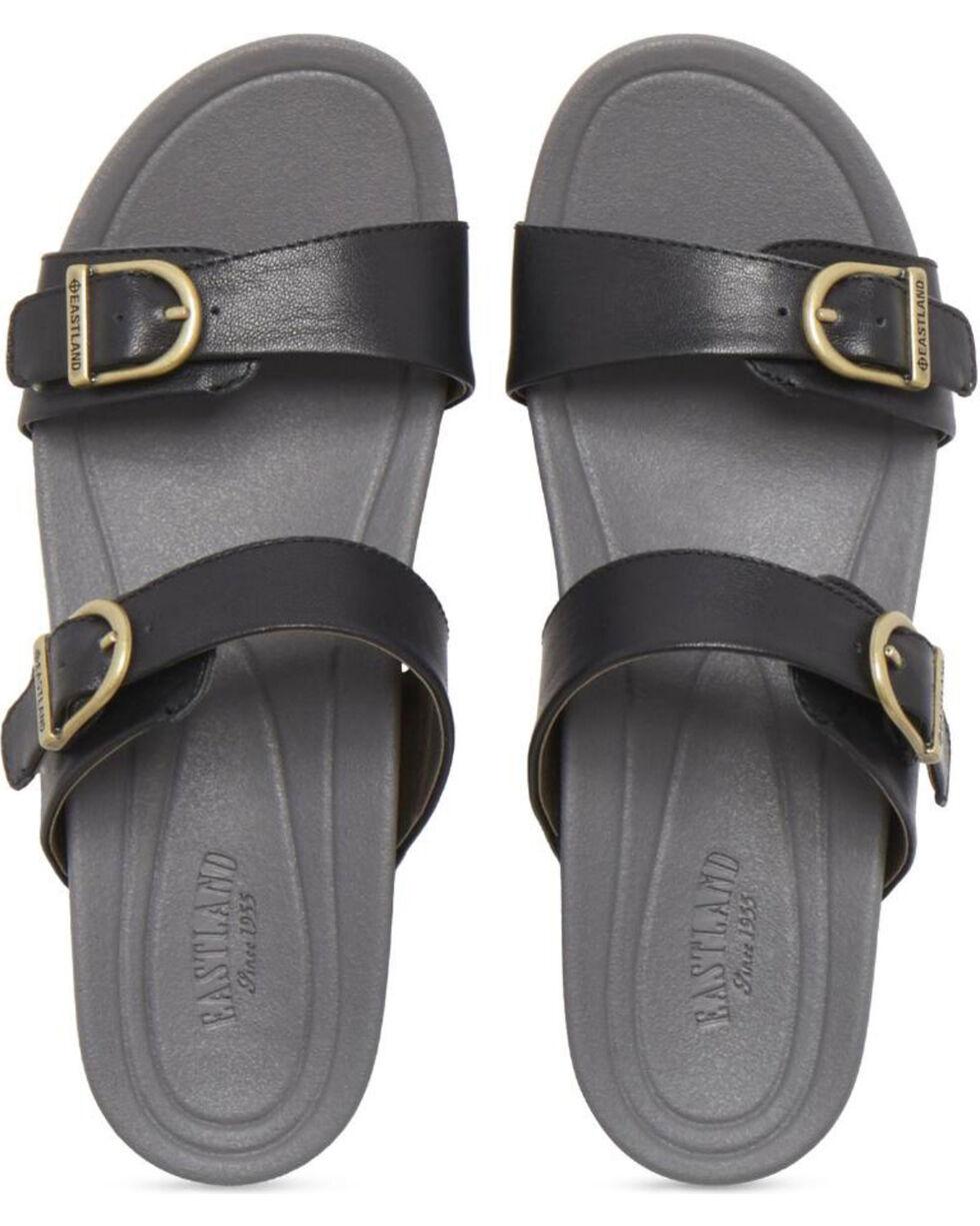 Eastland Women's Black Cape Ann Buckle Slide Sandals , Black, hi-res