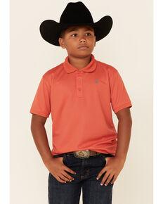 Ariat Boys' Solid Orange TEK Short Sleeve Polo Shirt , Orange, hi-res