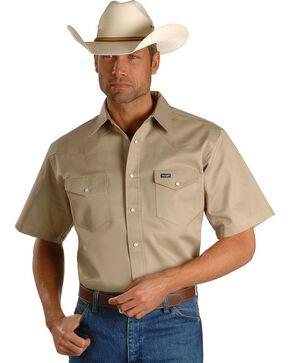 Wrangler Twill Work Shirt - Big, Tall, Khaki, hi-res