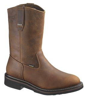 Wolverine Brek Waterproof Wellington Work Boots - Steel Toe, Dark Brown, hi-res
