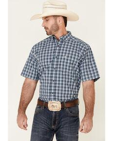 Ariat Men's Hardley Small Plaid Short Sleeve Button-Down Western Shirt , Black, hi-res