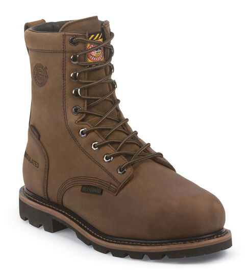 "Justin Men's Pulley Insulated Waterproof MetGuard 8"" Lace-Up Work Boots - Composite Toe, Brown, hi-res"