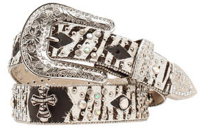 Nocona Zebra Print Hair on Hide Cross Concho Studded Leather Belt, Zebra, hi-res