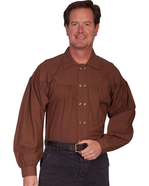 Rangewear by Scully Old West Style Double Button Placket Shirt, Chocolate, hi-res