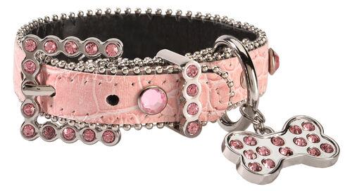 Blazin Roxx Croc Print Dog Collar - XS-S, Pink, hi-res