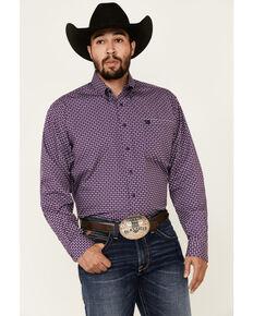 Cinch Men's Purple Aztec Geo Print Long Sleeve Western Shirt , Purple, hi-res