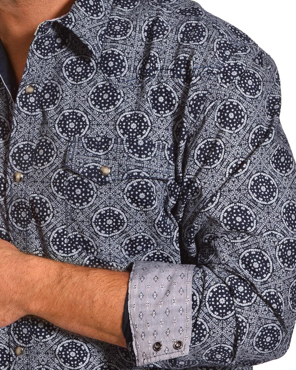 Moonshine Spirit Men's Bandana Navy Long Sleeve Western Shirt, Navy, hi-res