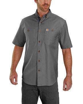 Carhartt Men's Rugged Flex Rigby Short Sleeve Work Shirt - Big , Charcoal, hi-res