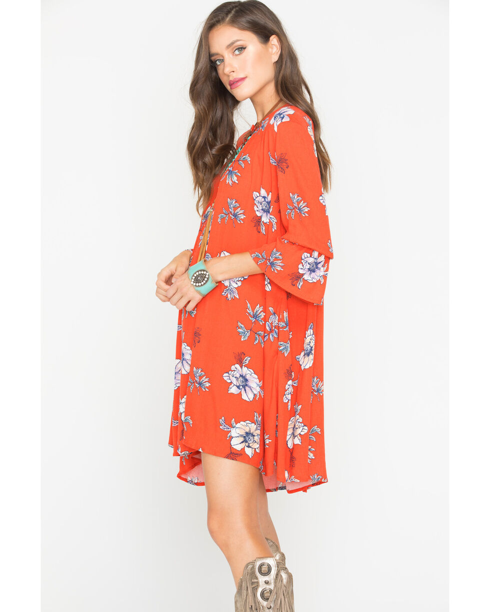 Polagram Women's Red Floral Patterned Dress , , hi-res