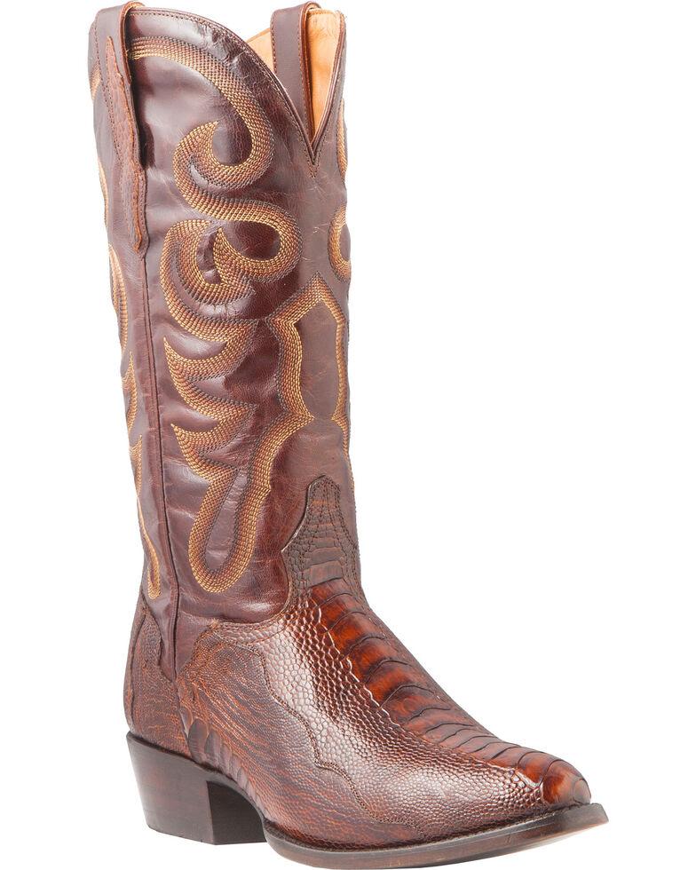 El Dorado Men's Handmade Ostrich Leg Brass Western Boots - Medium Toe, Bronze, hi-res