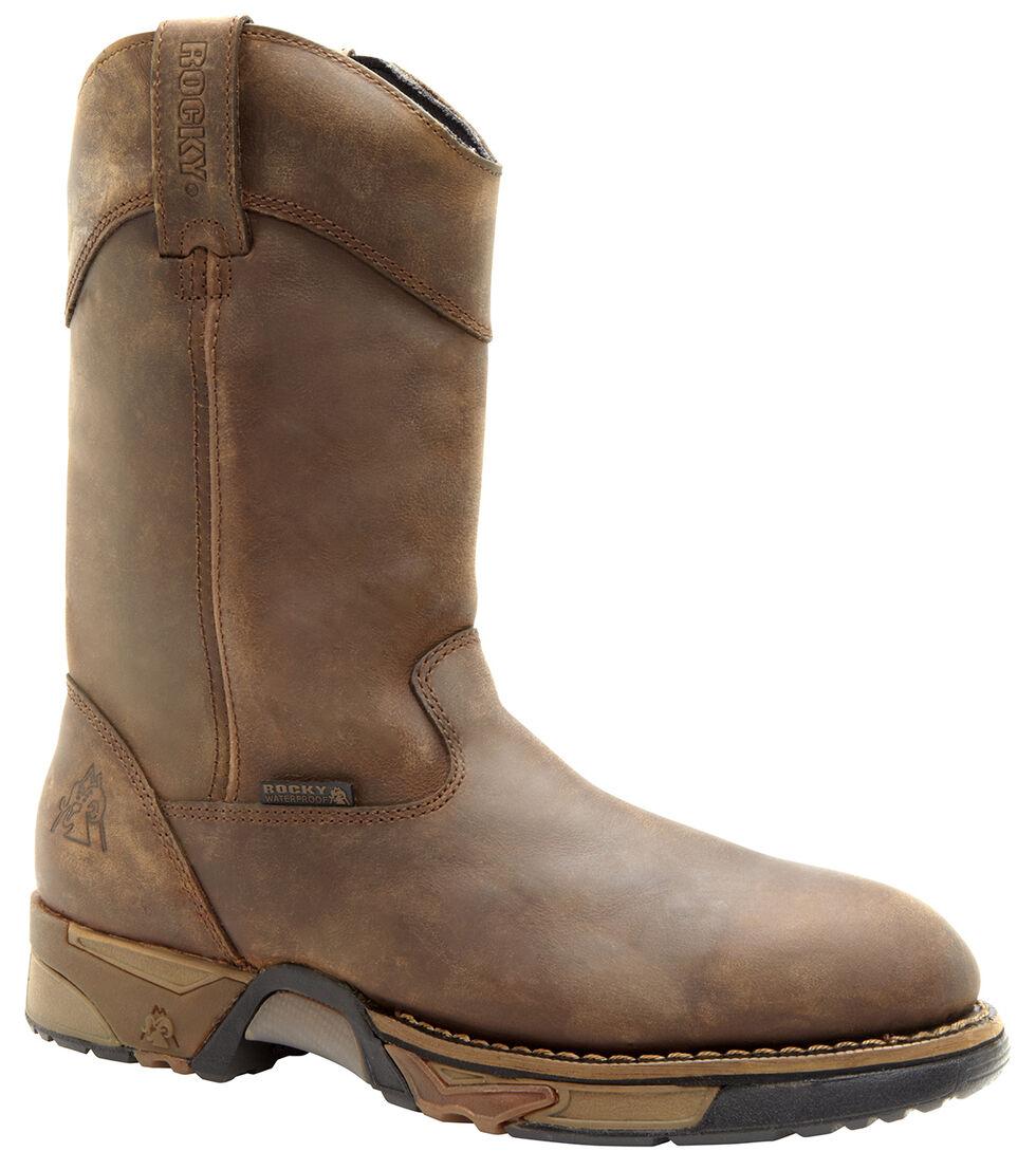 Rocky Waterproof Wellington Work Boots - Steel Toe, Tan, hi-res