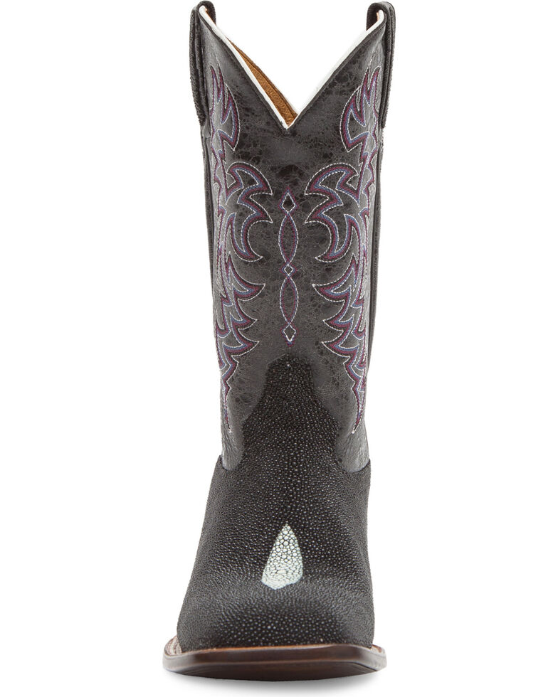 Cody James Men's Stingray Embroidered Exotic Boots - Square Toe, Black, hi-res