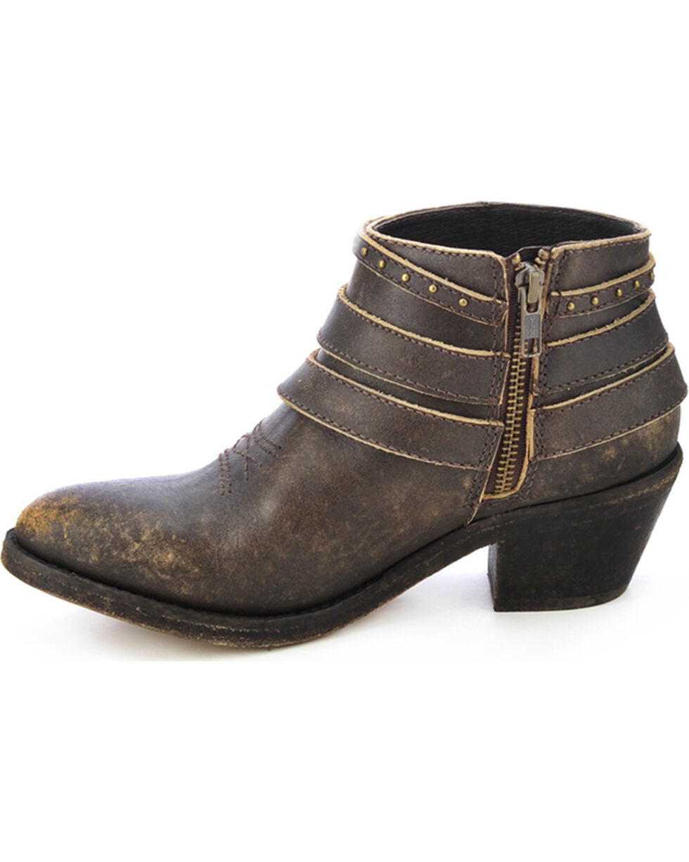 Circle G Distressed Ankle Strap Boots - Round Toe, Distressed, hi-res