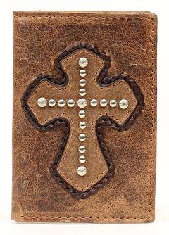 Ostrich Print Studded Cross Tri-Fold Wallet, Brown, hi-res