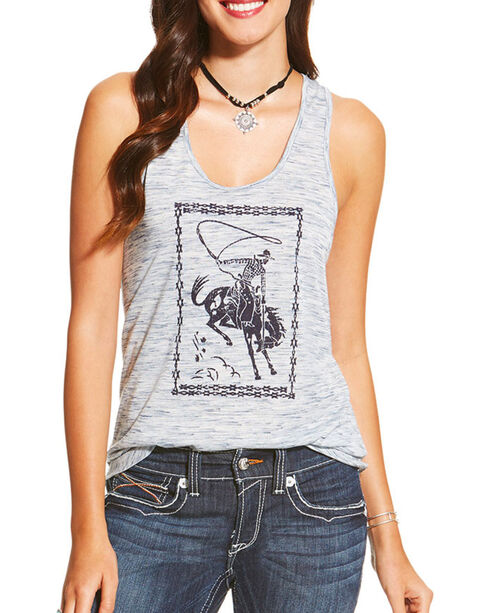Ariat Women's White Cowboy Twisted Racerback Tank Top , White, hi-res