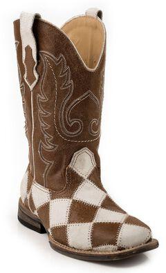 Roper Boys' Patchwork Cowboy Boots - Square Toe, Brown, hi-res