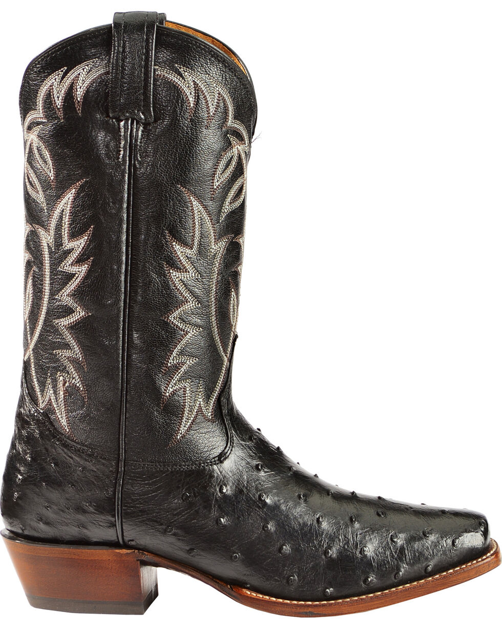 Tony Lama Full-Quill Ostrich Cowboy Boots - Square Toe, Black, hi-res