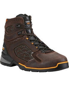 "Ariat Men's Chocolate Rebar Flex 6"" Work Boots - Round Toe , Chocolate, hi-res"