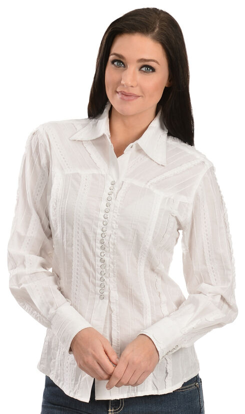 Scully Tone-on-Tone Lace Top, White, hi-res