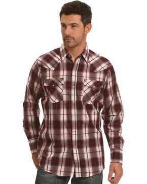 Ely Cattleman Men's Burgundy Texture Plaid Shirt - Tall, Burgundy, hi-res