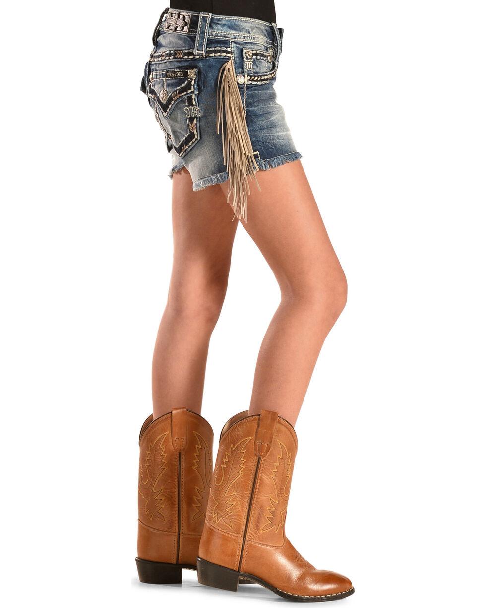 Miss Me Girls' Fringe Cut-Off Denim Shorts, Denim, hi-res