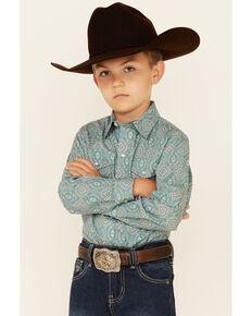 Roper Boys' Jade Quarry Medallion Paisley Print Long Sleeve Snap Western Shirt , Teal, hi-res