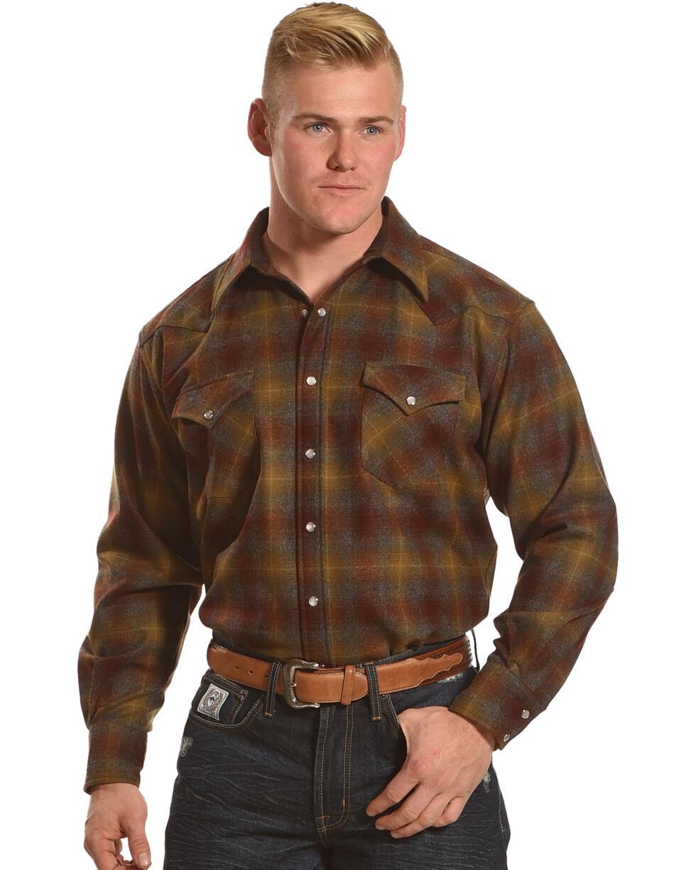 Pendleton Men's Maroon/Bronze Canyon Ombre Long Sleeve Flannel Shirt, Burgundy, hi-res