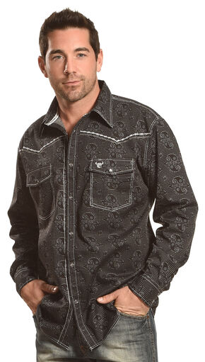 Cowboy Hardware Men's Black Barbed Paisley Print Shirt , Black, hi-res