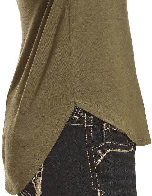 Derek Heart Women's Single Pocket Hi/Low Shirttail Hem Tee, Olive, hi-res
