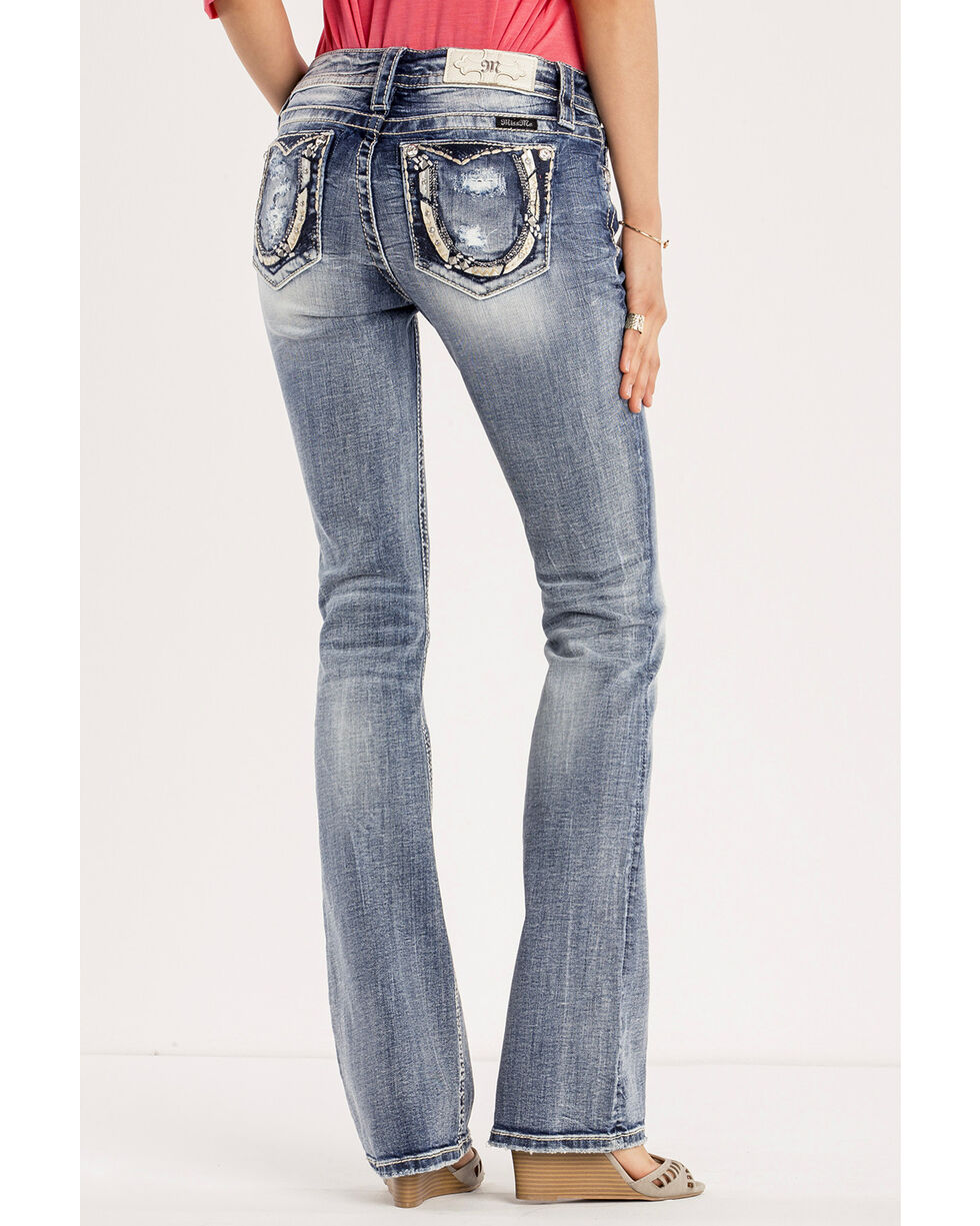 Miss Me Women's Saddle Up Mid-Rise Boot Cut Jeans, Indigo, hi-res