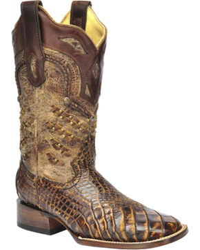 Corral Exotic Alligator Woven Cowgirl Boots - Square Toe, Honey, hi-res
