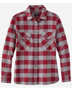 Pendleton Women's Grey Plaid Elbow Patch Western Flannel Shirt , Grey, hi-res