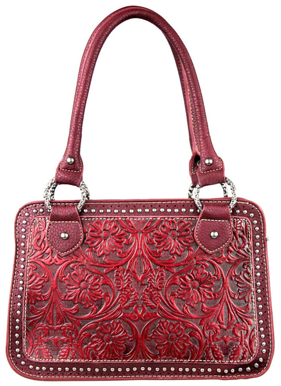 Montana West Trinity Ranch Tooled Handbag with Studs, , hi-res
