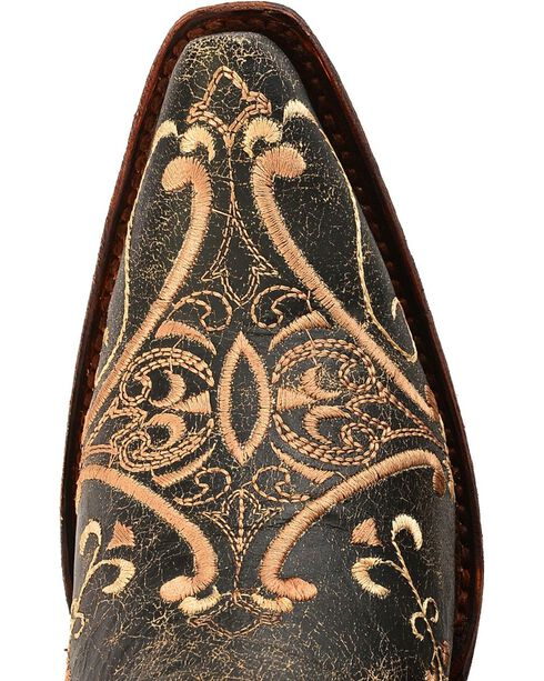 Circle G Crackle Tan Embroidered Cowgirl Boots - Snip Toe, Black, hi-res