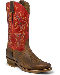 "Nocona Men's 12"" Vintage Red Cowboy Boots - Square Toe, Brown, hi-res"