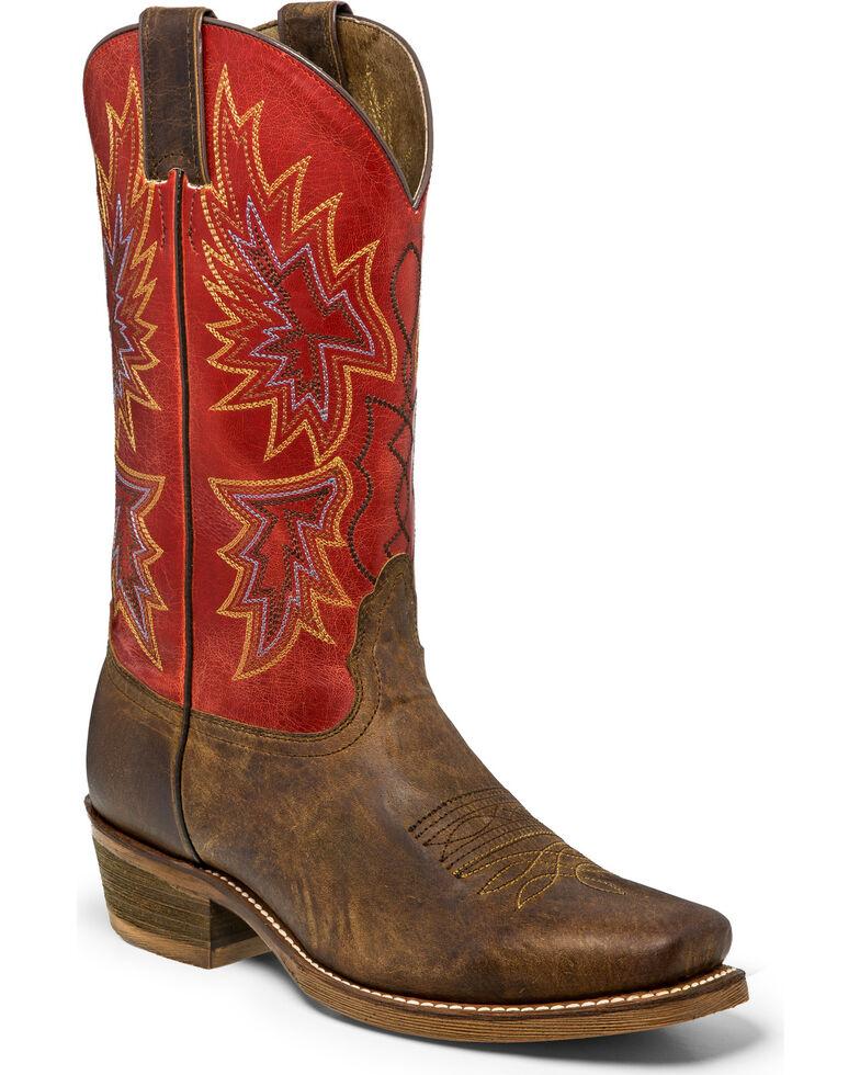 "Nocona Men's 12"" Vintage Red Cowboy Boots - Square Toe, Brown, hi-res"