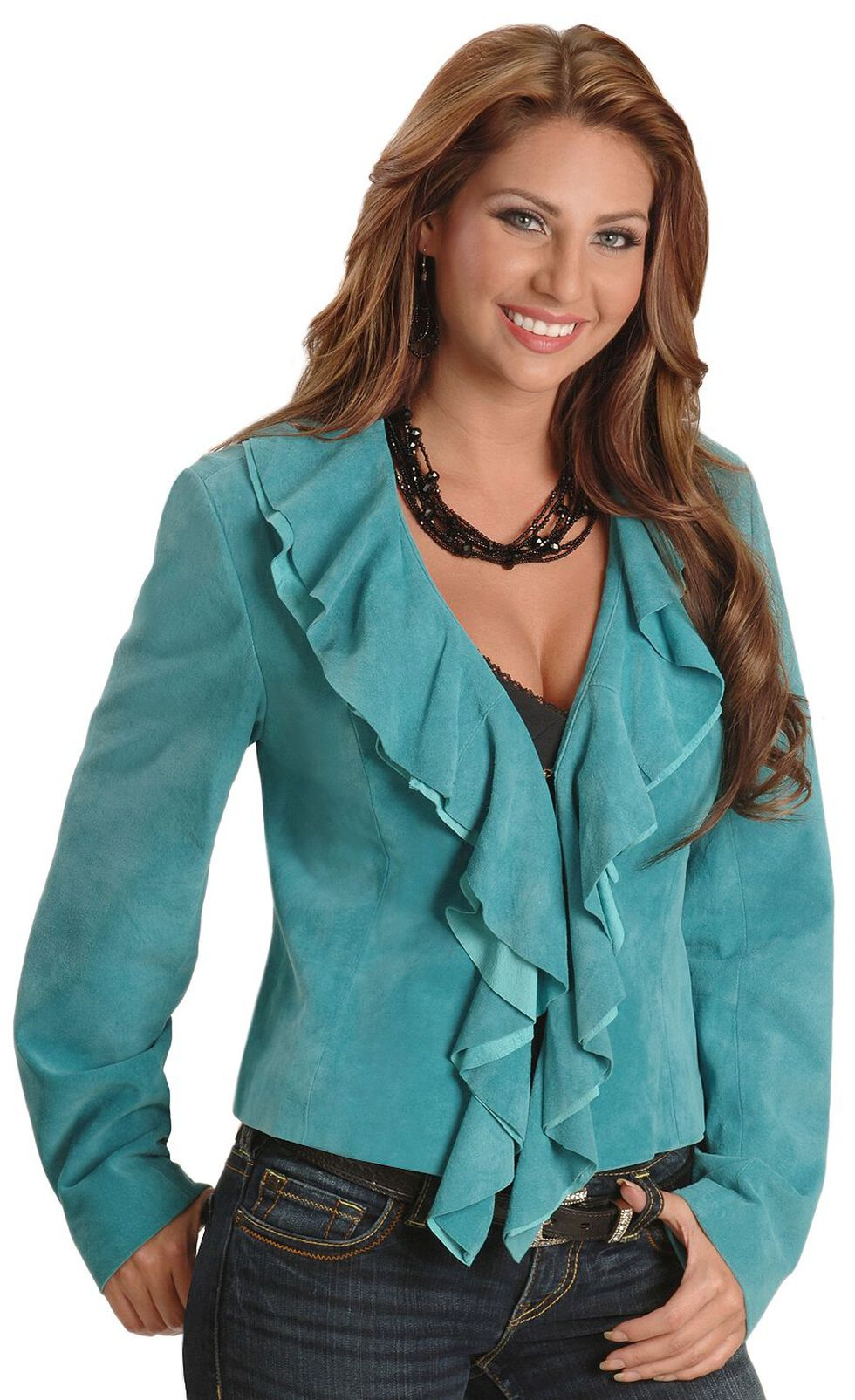Scully Ruffled Suede Leather Jacket, Blue, hi-res