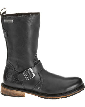 "Harley Davidson Men's Brendan 10"" Leather Motorcycle Boots  - Round Toe, Black, hi-res"
