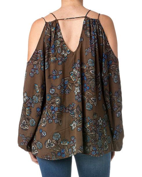 Miss Me Women's Floral Cold Shoulder Long Sleeve Top , Blue, hi-res