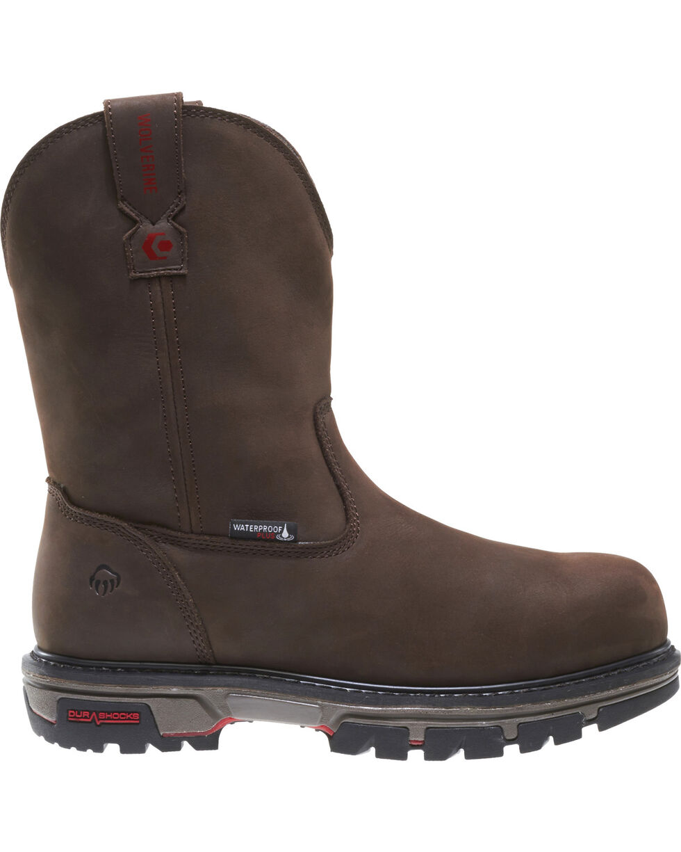 Wolverine Men's Nation DuraShocks Wellington Work Boots - Composite Toe, Brown, hi-res