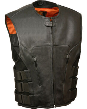 Milwaukee Leather Men's SWAT Style Zipper Front Vest, Black, hi-res