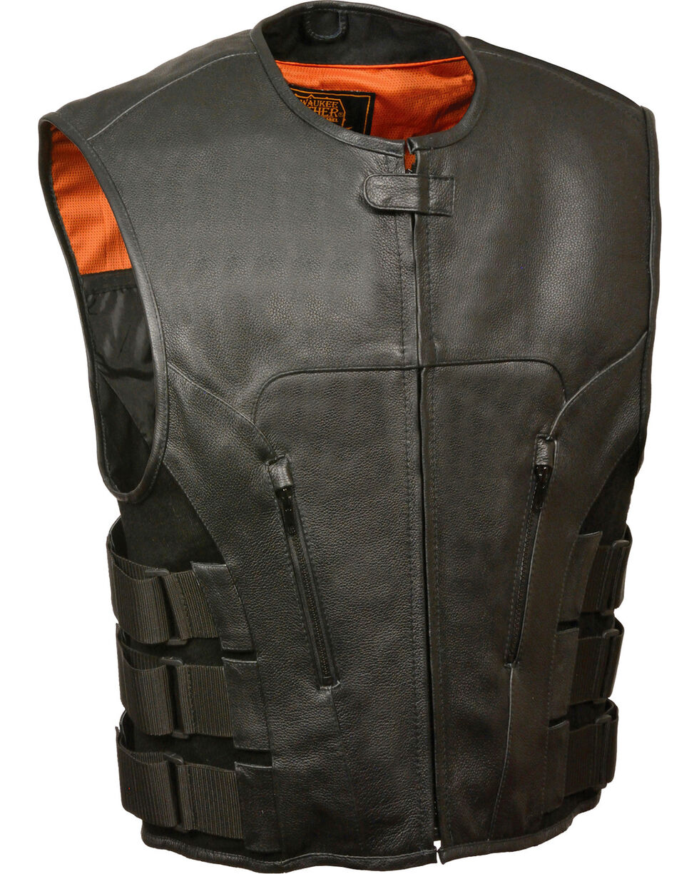 Milwaukee Leather Men's SWAT Style Zipper Front Vest - 3X, Black, hi-res